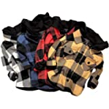Toddler Girl Boy Hooded Plaid Top Baby Kids Long Sleeve Button Down Cottton Shirt