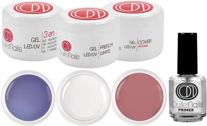 Pack 3 Geles UV/Led de 15ml + Primer 15ml para uñas de gel / 1 x UV Gel 3 en 1 Trifasico + 1 x UV Gel French Blanco + 1 Gel UV Cover Natural + 1 Primer: Amazon.es: Belleza