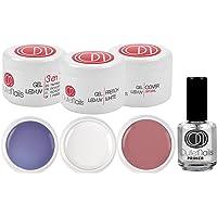Lot de 3 gels UV/LED de 15 ml + Primer 15 ml pour ongles en gel / 1 x UV gel 3 en 1 triphasé + 1 x UV gel french blanc + 1 gel UV Cover naturel + 1 Primer