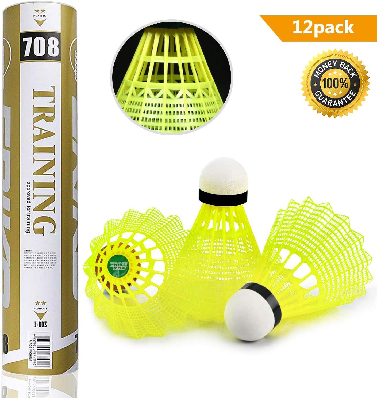 12Pcs Yellow Nylon Shuttlecocks Birdies Badminton Ball Outdoor Training Durable