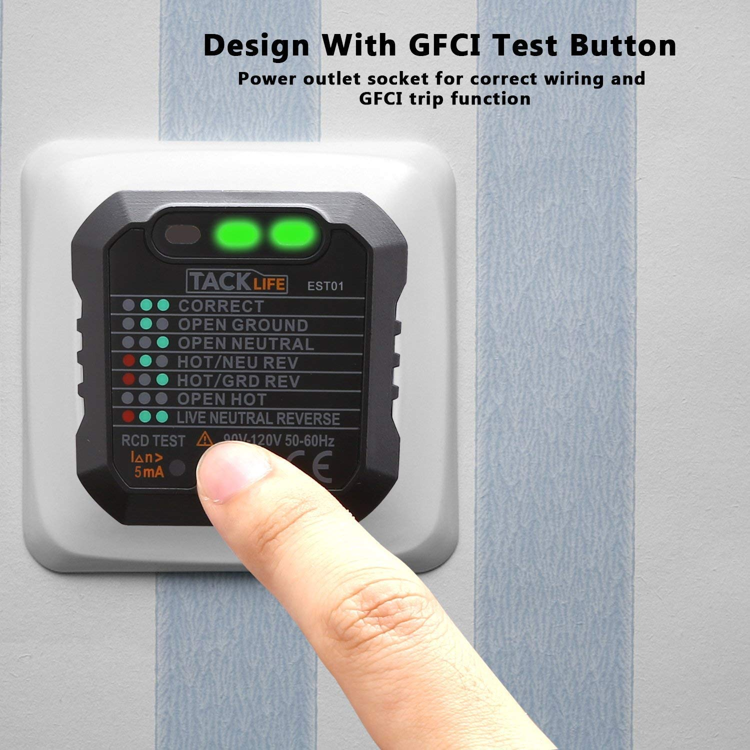 Tacklife Est01 Advanced Gfci Outlet Tester Power Socket Automatic Tools Home Improvement Electrical Testers Voltage Electric Circuit Polarity Detector Wall Plug Breaker Finder Fba B Tibs