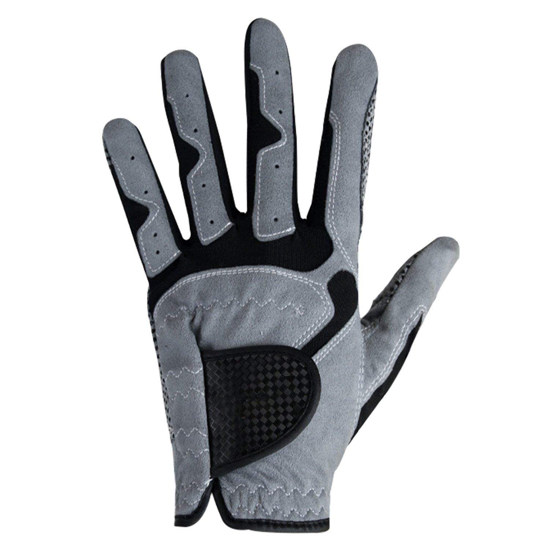 ファッションゴルフグローブ、メンズBoys All Weatherレザーゴルフグローブwithノンスリップグリップ、ソフト、通気性、耐摩耗性、1つパックfor Left Handゴルフ雨手袋 26 (Hand Length 8.07\ グレー B07DGSF1V2