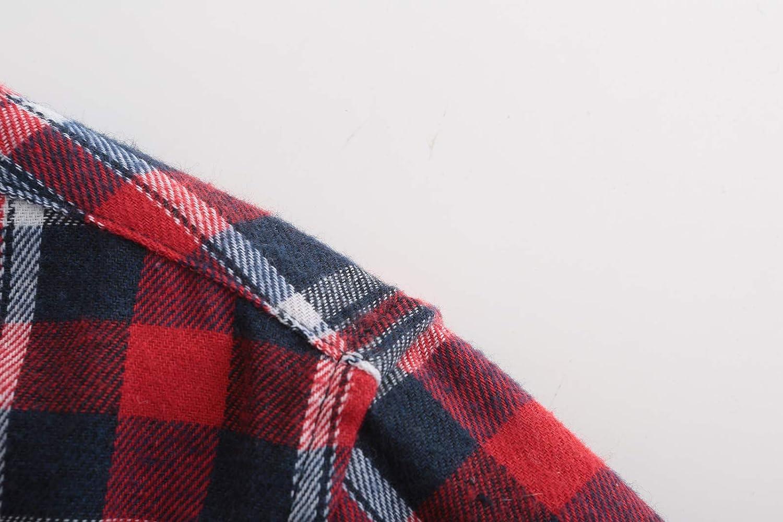 Emiqude Mens Slim Fit Casual Flannel Cotton Long Sleeve Plaid Button Up Dress Shirt