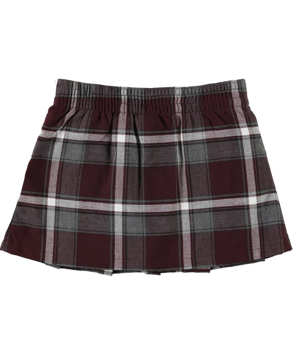 French Toast Big Girls' Buckled Plaid Scooter Skirt - burgundy/gray/white by French Toast (Image #1)