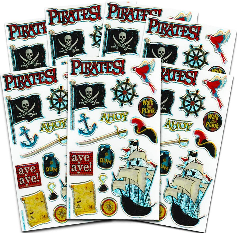 Fancy Self Adhesive Glitter Pirates Stickers Sheet For Card Christmas Decoration