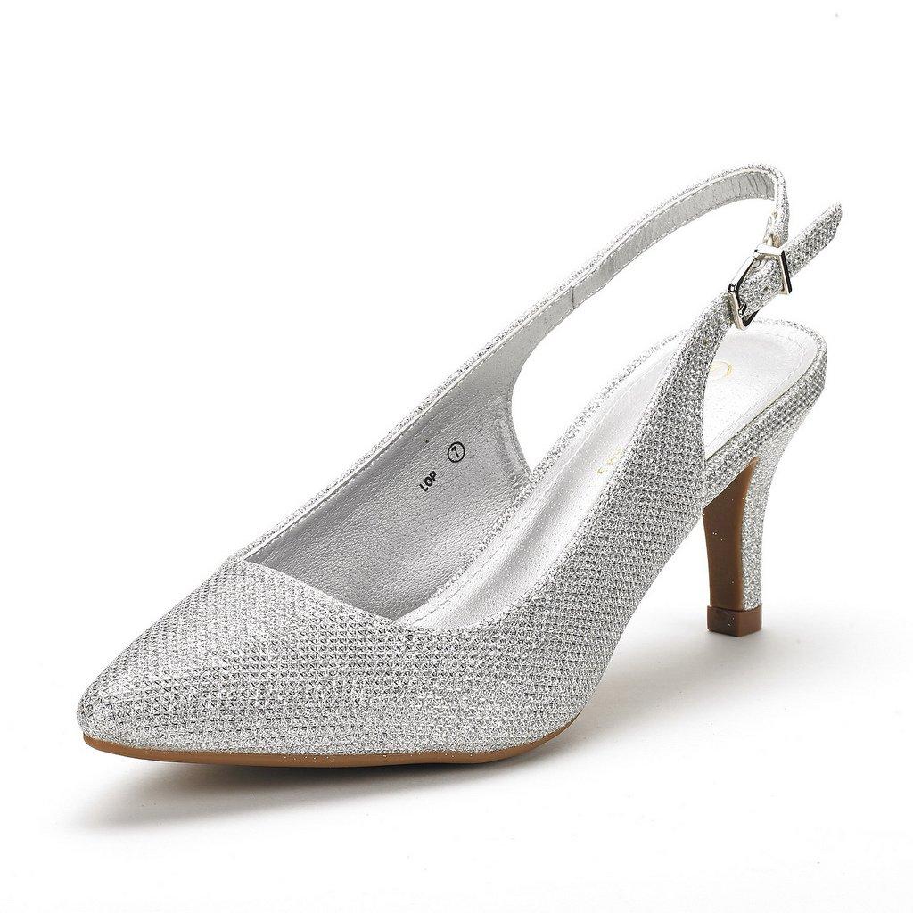 DREAM PAIRS Women's LOP Silver Glitter Low Heel Pump Shoes - 6.5 M US