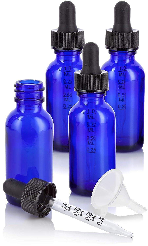 1 oz Cobalt Blue Glass Boston Round Graduated Measurement Glass Dropper Bottle (4 pack) + Funnel for essential oils, aromatherapy, e-liquid, food grade, bpa free