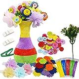 Motiloo Creates Your Own Vase and Felt Flower Set, Fun Kids Crafts Arts,DIY Set Craft Vase Snowflake Mud Button Party…