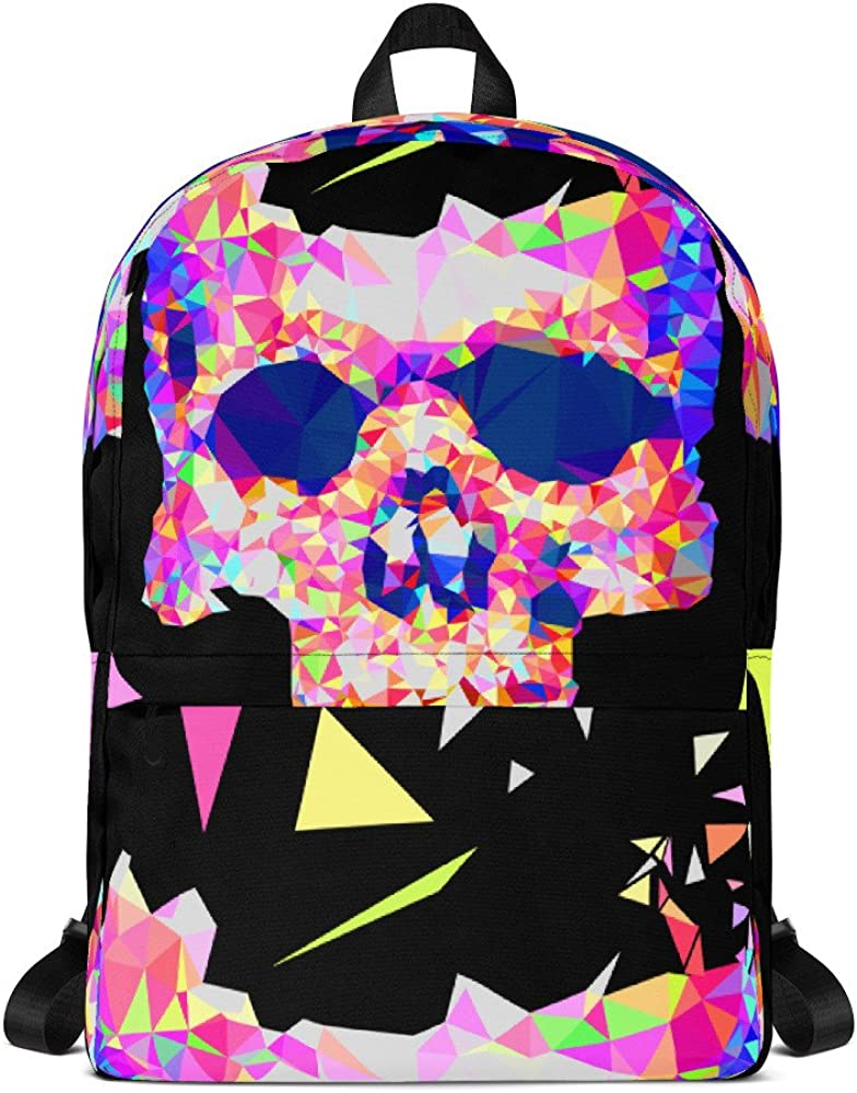 Geometric Low Poly Colorful Skull Backpack for School Lemoboy
