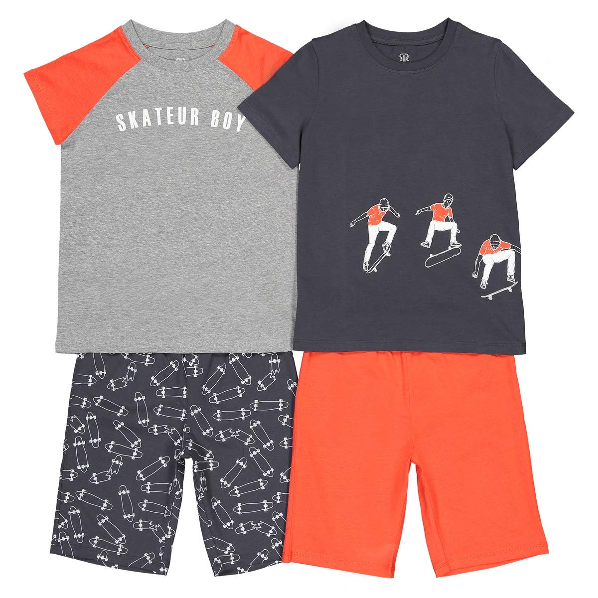 La Redoute Collections Big Boys Pack of 2 Skateboard Theme Pyjamas 3-12 Years
