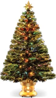 Awesome Celebrations 36 Inch LED Fiber Optic Prelit Artificial Christmas Tree In  Gold Base