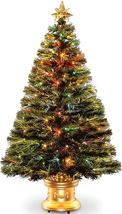 celebrations 36 inch led fiber optic prelit artificial christmas tree in gold base - Christmas Tree Com