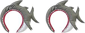 Beistle 60958 2 Piece Shark Headbands, Gray/White/Red/Black