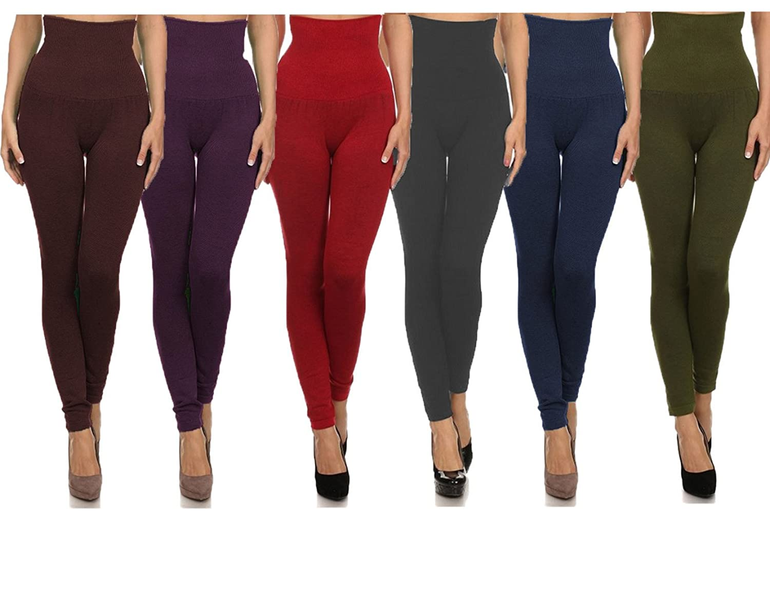 Women Empire Waist Compression Legging OS,Charcoal/Coffee/Navy/Olive/Purple/Red