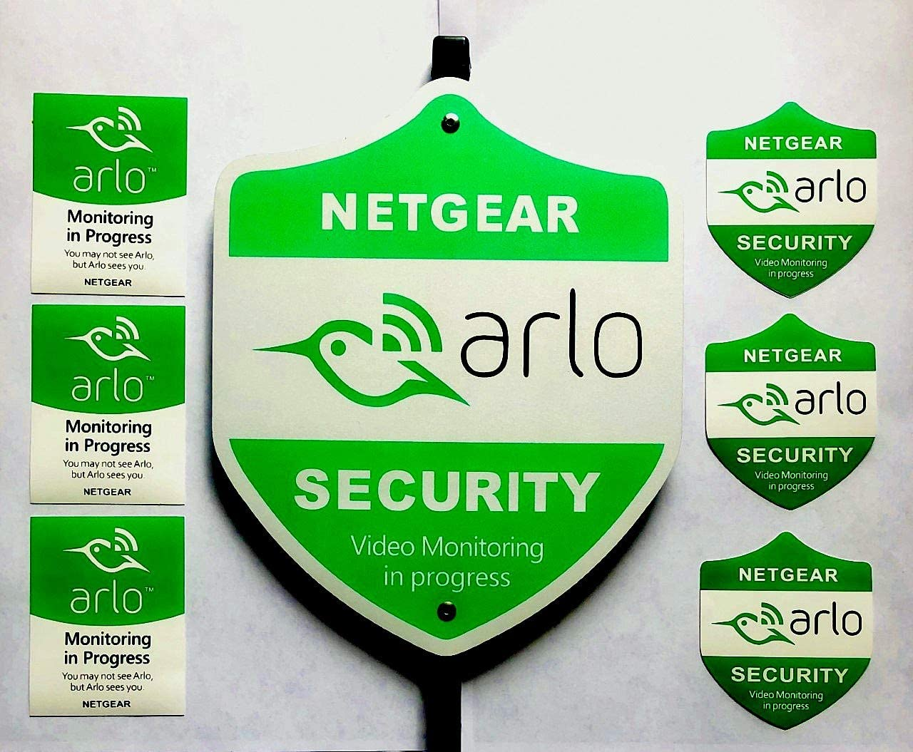 Arlo Yard Security Sign, 8 yr Weatherproof Reflective Aluminum Construction, 6 Window/Door Stickers by 3M Included