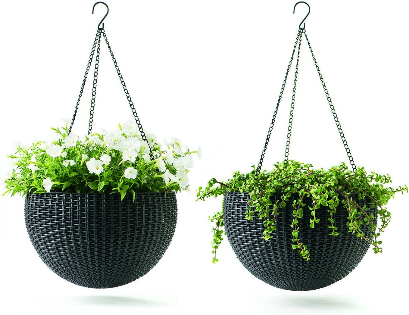 Keter Resin Rattan Set of 2 Round Hanging Planter Baskets for Indoor and Outdoor Plants-Perfect for Porches and Patio Decor, Dark Grey