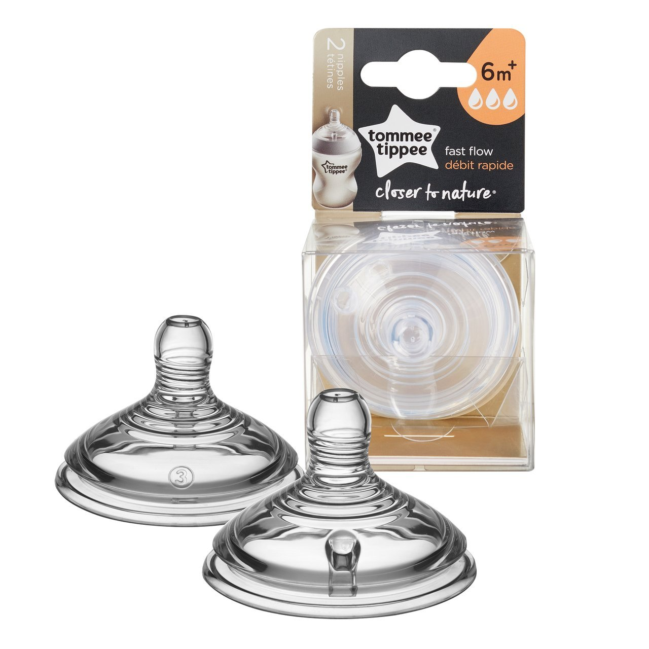 Tommee Tippee Closer to Nature Fast Flow Baby Bottle Nipples, 6+ months - 2 count