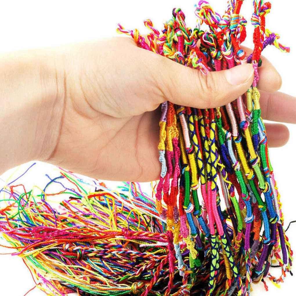 Morza 10 PCS Main Fil tiss/é amiti/é Cordons Hippie Braid Bracelet Bracelet color/é Cordons