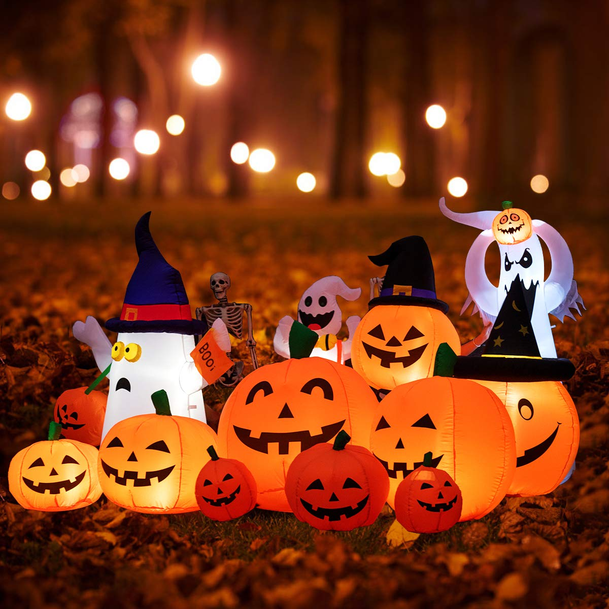 Jack-o-Lantern Inflatables for Indoor Outdoor Home Yard Party Inflatable Blow Up Flashing Lights 7 Pumpkins Tangkula 7.5 Ft Halloween Inflatable Pumpkin Patch Family Decoration Autumn Fall Harvest