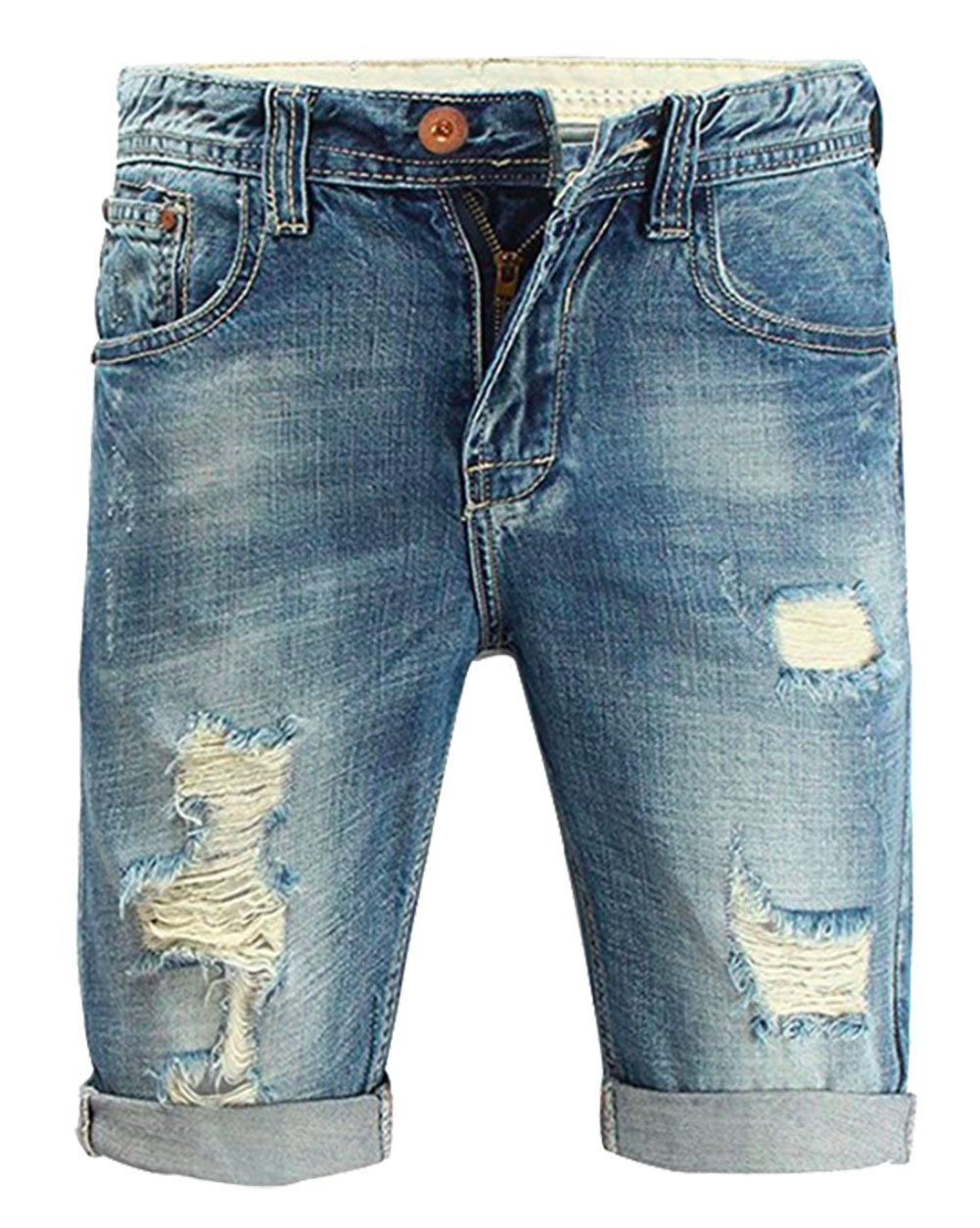 Myncoo Men's 80s Ripped Denim Shorts Distressed Jeans Light Washed (40) by Myncoo