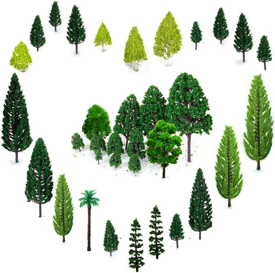 Amazon Com Orgmemory 29pcs Mixed Model Trees 1 5 6 Inch 4 16 Cm