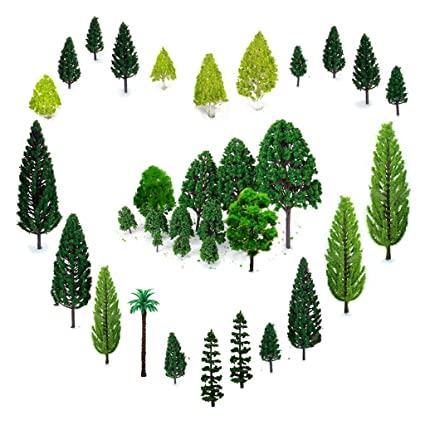OrgMemory 29pcs Mixed Model Trees 1 5-6 inch(4 -16 cm), Ho Scale Trees,  Diorama Supplies, Model Train Scenery, Fake Trees for Projects, Woodland