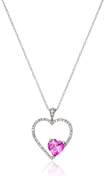 66411d6a033d 10k White Gold Checkerboard Heart Created Pink Sapphire and Round Diamond  Pendant Necklace