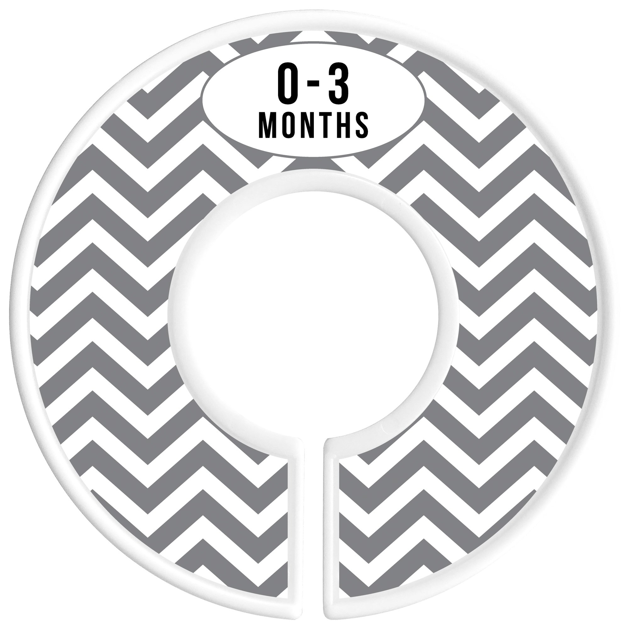 Delicush Baby Closet Dividers, Stripe, Chevron, Set of 6 Size Organizers, Nursery Closet Organizers, Baby Size Dividers, Glossy Finish, Boy, Girl (Grey) by DELICUSH (Image #3)