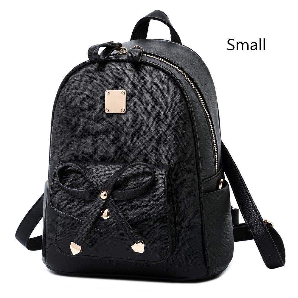 WINK KANGAROO Fashion Shoulder Bag Rucksack PU Leather Women Girls Ladies Backpack Travel bag (Black Small Size)