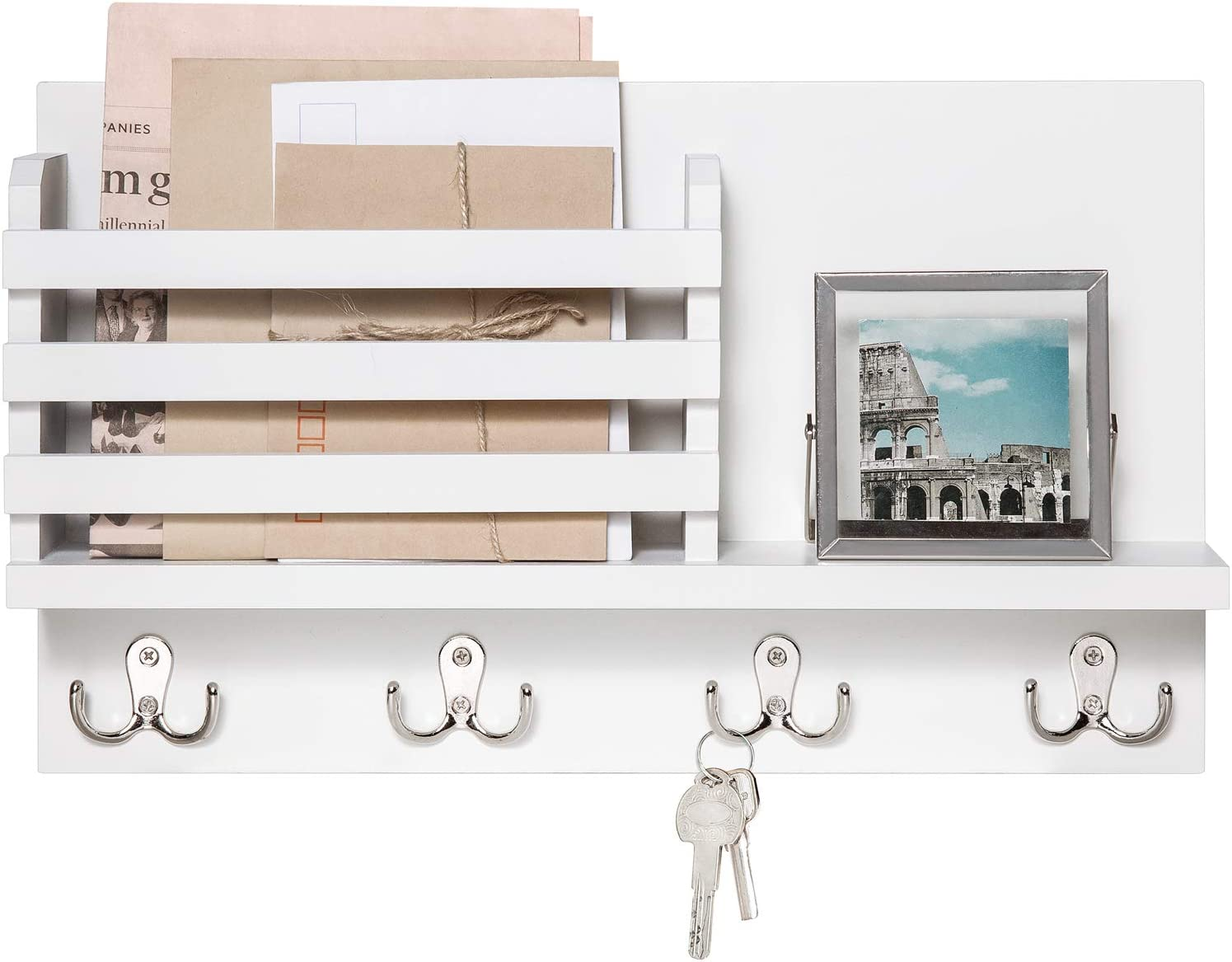Dahey Wall Mounted Mail Holder Wooden Mail Sorter Organizer with 4 Double Key Hooks and A Floating Shelf Rustic Home Decor for Entryway or Mudroom,White