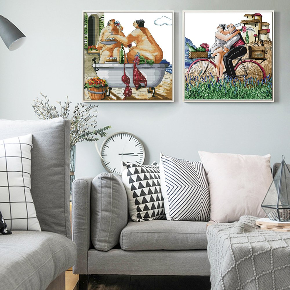 Joy Sunday Stamped Cross Stitch Kits Sewing Patterns Enjoy in The Country Road DMC Embroidery Kit Enjoy Life Style Printed Fabric Cross-Stitch 21x22
