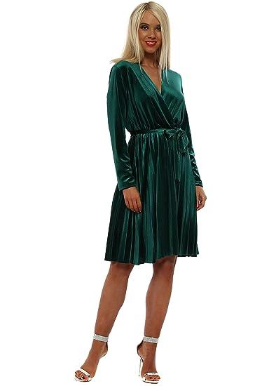 48976275dc Senes Green Velvet Pleated Wrap Dress Green One Size  Amazon.co.uk  Clothing