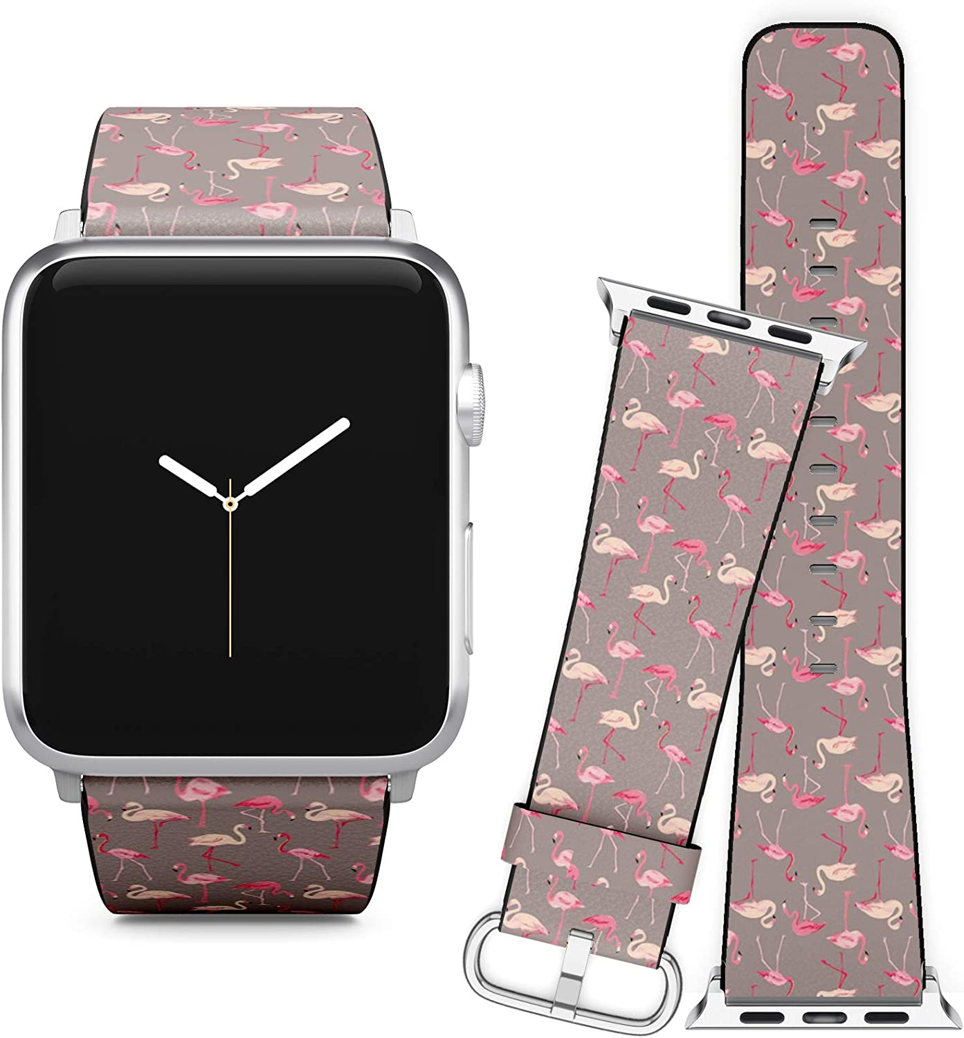 Compatible with Apple Watch (38/40 mm) Series 5, 4, 3, 2, 1 // Leather Replacement Bracelet Strap Wristband + Adapters // Flamingo Bird Retro