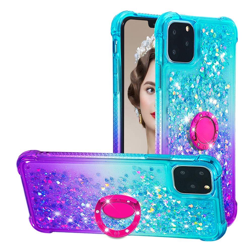 Tznzxm iPhone 2019 (XI Max) 6.5'' Case,Glitter TPU Reinforced Corners Gradient Quicksand Shockproof Bling Sparkly Defender 360 Kickstand Ring Protective Case for iPhone 11 Pro Max 2019 Mint/Purple by Tznzxm