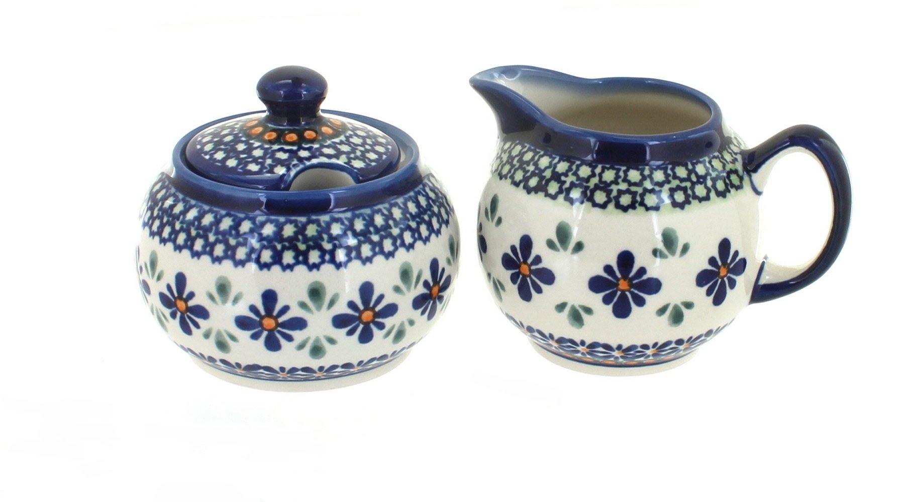 OKSLO Polish pottery mosaic flower cream and sugar set