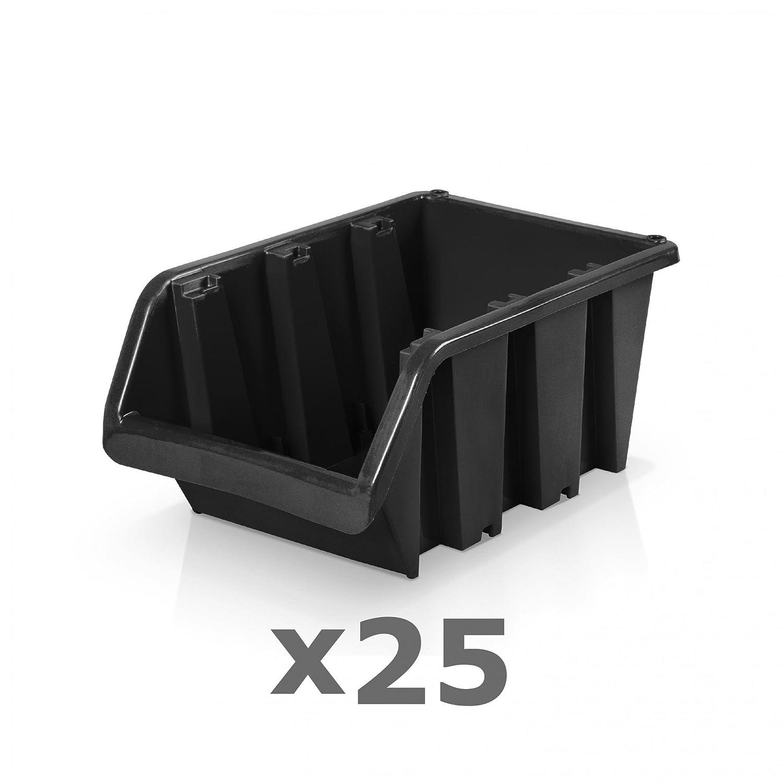 25 St/ück Sichtlagerboxen Gr/ö/ße 4 23 x 16 x 12 cm schwarz