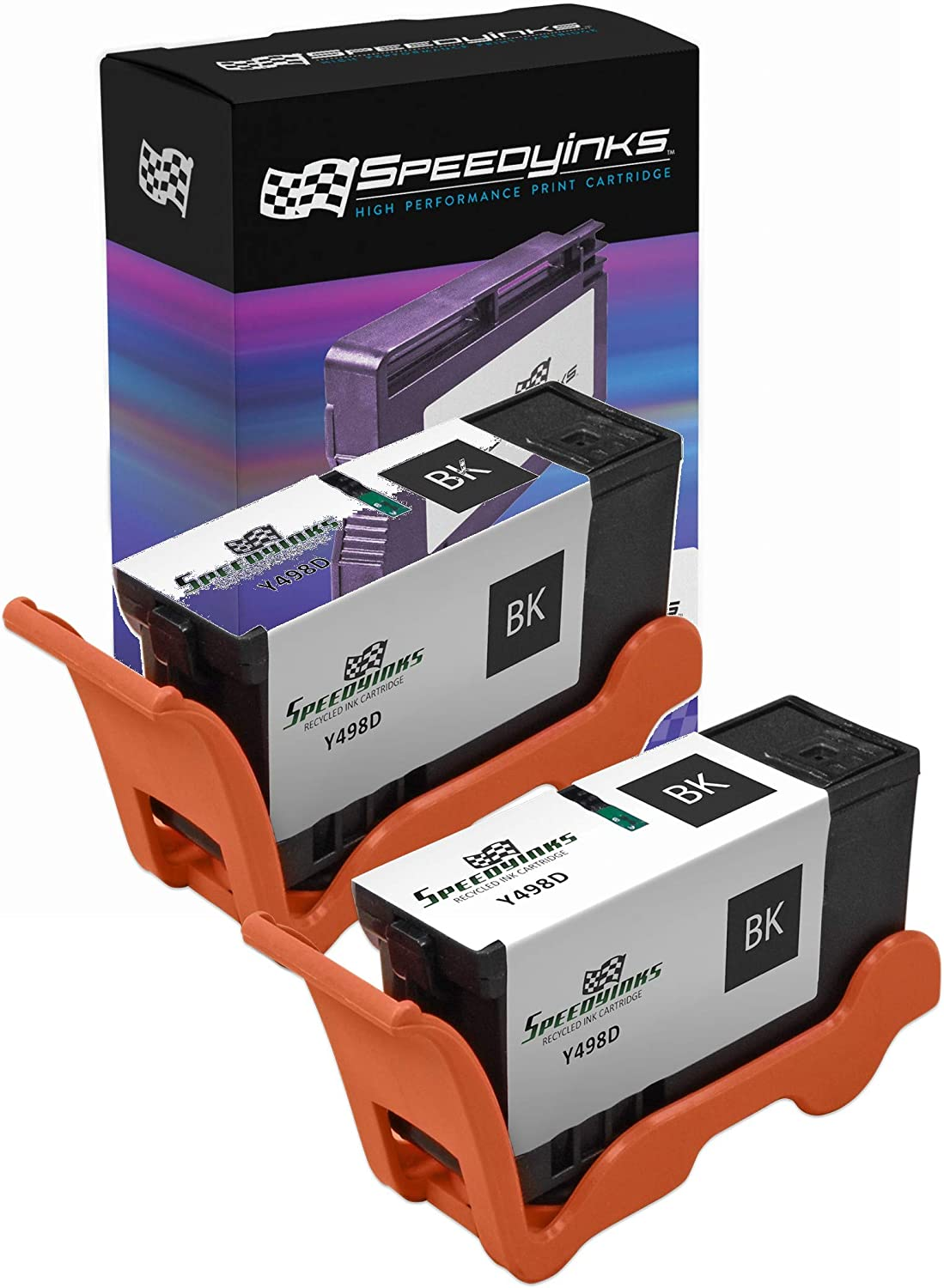 Speedy Inks Compatible Ink Cartridge Replacement for Dell Y498D Series 21 (Black, 2-Pack)