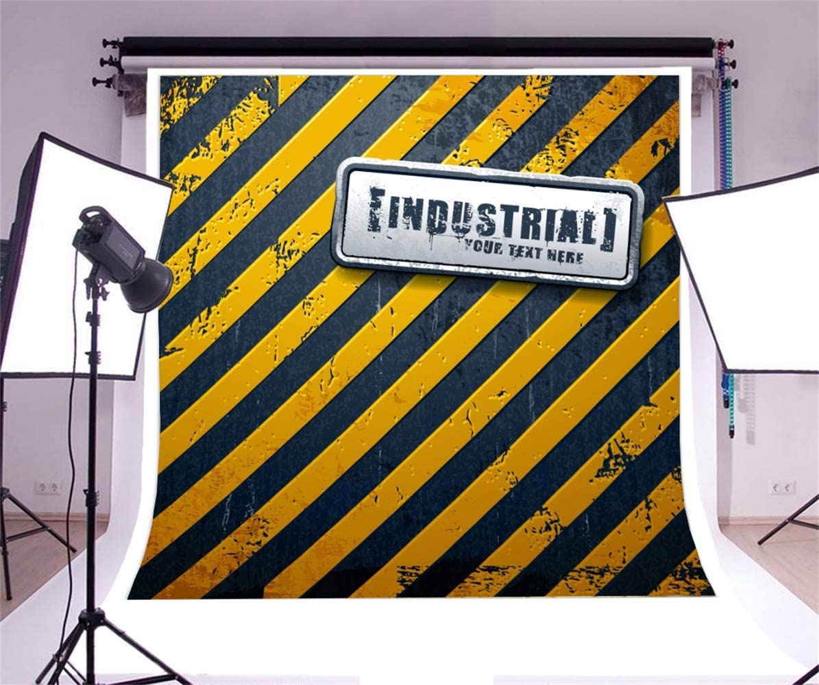7x7ft Mottled Yellow Black Diagonal Wall with Industrial Board Polyester Photography Background Child Kids Baby Boy Adult Portrait Shoot Backdrop Engineer Style Birthday Party Banner Wallpaper
