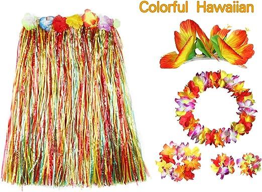 BigLion 6 Piezas Hawaiana Falda de Hierba Disfraces, Falda ...