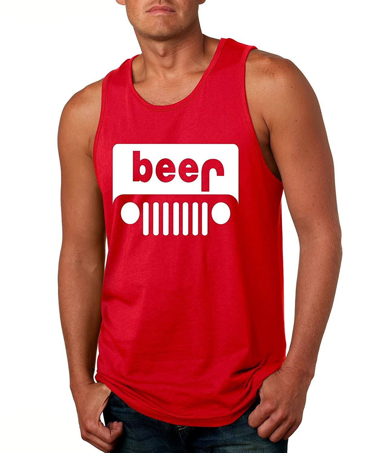 Allntrends Men's Tank Top Beer Jeep Funny Drinking Shirt