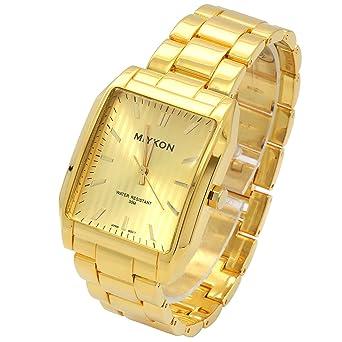 Amazon.com: Miykon Square Gold Dial Gold Metal Band 30m Water Resistant Quartz Wrist Watch: Watches
