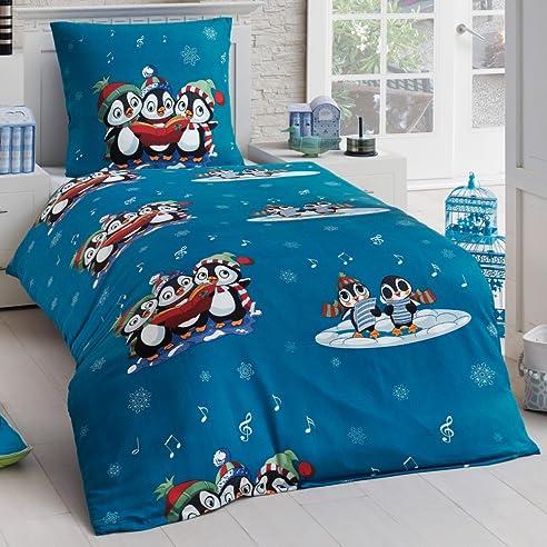 Tolle Kinder Bettwäsche Microfaser Biber Flanell 135x200 Winter Pinguin  Kissenbezug, Design   Motiv:Design