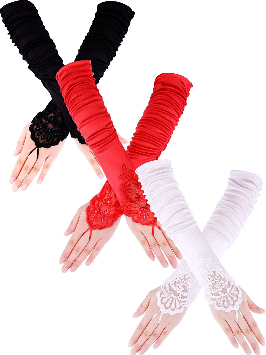 Adult Fancy Satin Lace Sequins Fingerless Elbow Length Gloves Set of 3 - DeluxeAdultCostumes.com