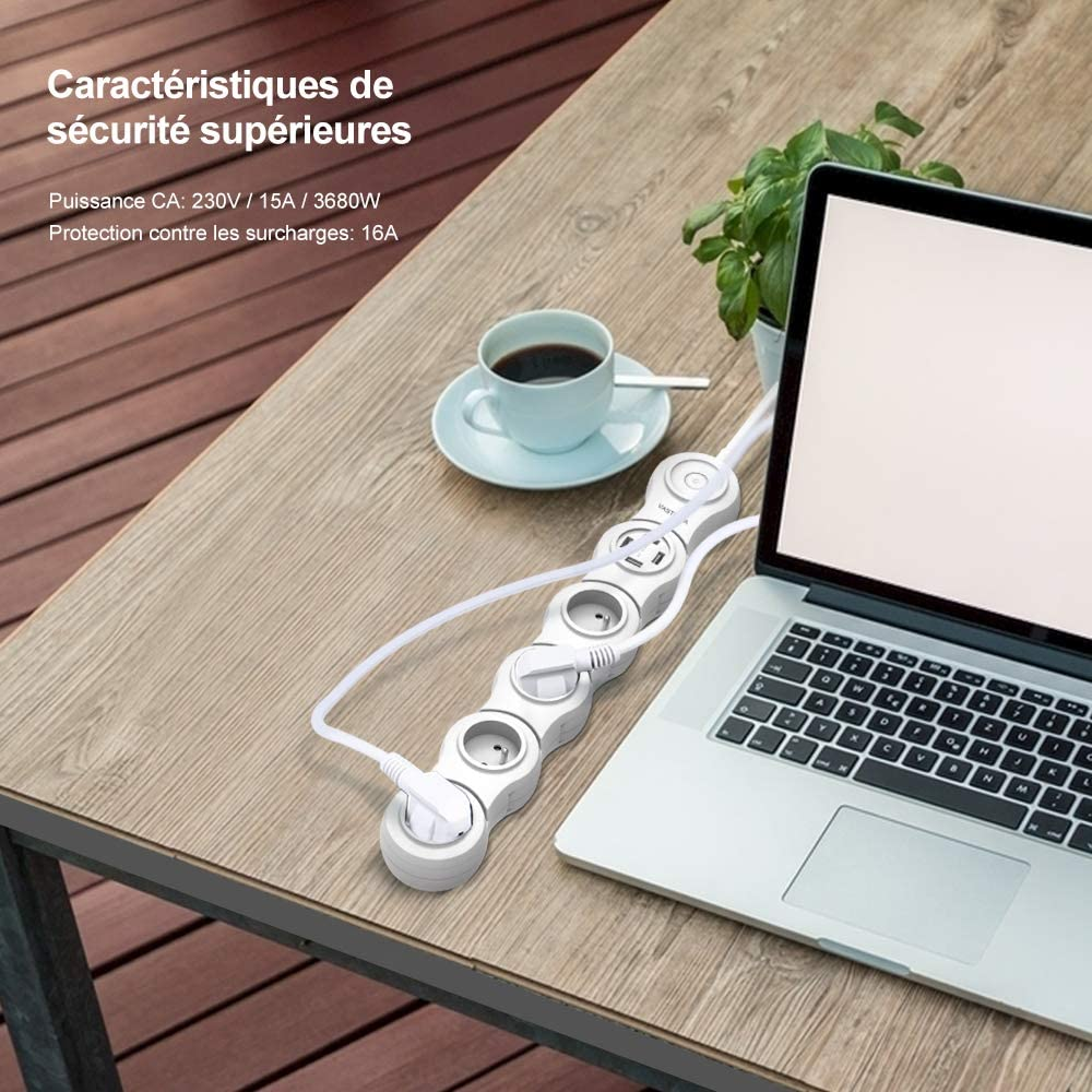 VASTFAFA Multiprise Parasurtenseur Parafoudre mit 2 Prises+4 USB 2500W 2,4A C/âble de 1.5m Rallonge Multiprise,Blanc