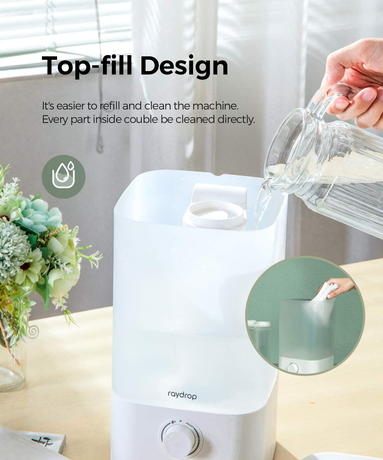 Home and Office White raydrop Cool Mist Humidifier Diffuser Top Fill Humidifier for Bedroom Baby Humidifier with Adjustable Mist Output Dial Knob 2.5L Essential Oil Diffuser Auto Shut Off