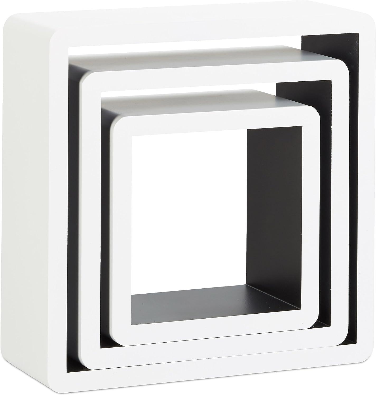 Madera 3 Unidades 10x27x27 cm Blanco Relaxdays Juego de Estantes Cubo de Pared