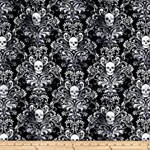 Timeless Treasures City Knits Jersey Knit Skull Damask Black Fabric By The Yard