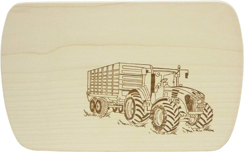 Frühstücksbrettchen Vesperbrett aus Holz Motiv Brettchen Trecker Traktor 100