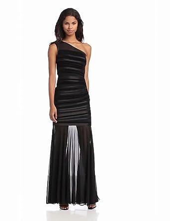 HALSTON HERITAGE Women's Evening Gown with Velvet Stripes and Sheer Skirt, Black, 0
