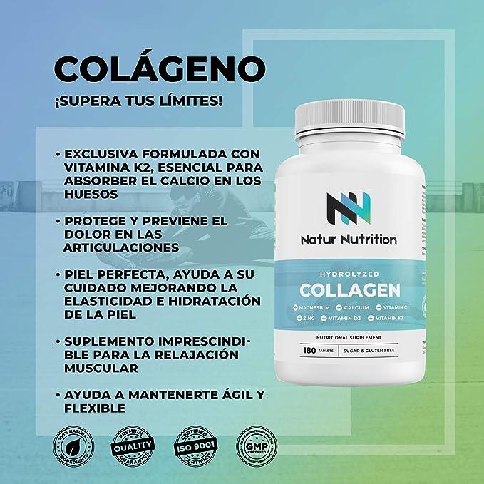 Colágeno hidrolizado con ácido hialurónico, calcio, zinc y vitamina C, D3, K2 para fortalecer articulaciones, cartílagos y piel. 180 comprimidos.